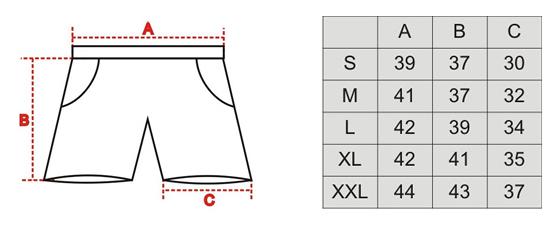 tabela rozmiarów spodenki dla ratowników wodnych